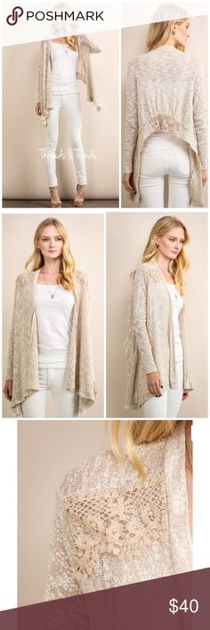 Cozy Lace Cardigan Sweater Cozy oatmeal color cardigan ho/low sweater. Featuring crochet lace detail on shoulders and back bottom hemline. Made of of soft breathable poly/cotton blend. Size S, M, L Threads & Trends Sweaters Cardigans