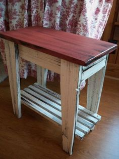 Red Primitive Side Table with Shelf