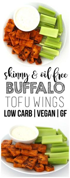 Vegan Buffalo Tofu Wings (Keto + Low-Carb + Gluten-Free + Oil-Free) These skinny & oil-free Buffalo Tofu Wings are so delicious! The perfect party appetizer or Super Bowl snack. Low-fat, low-carb, low-calorie, vegan, and gluten-free! Low Fat Low Carb, Low Fat Diets, Vegan Keto, Paleo Diet, Vegan Appetizers, Appetizers For Party, Party Snacks, Clean Eating Snacks, Healthy Snacks