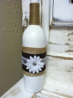 White Hand Painted Jute Twine and Burlap Wine by KotahVintage, $12.00