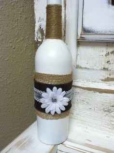White Hand Painted Jute Twine and Burlap Wine by KotahVintage, $12.00