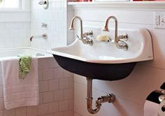 Help Finding Source for Vintage Style Bathroom Sink? Victorian Bathroom Sinks, Vintage Bathrooms, 1930s Bathroom, Vintage Sink, Vintage Style, Kohler Sink, Faucet, Bathroom Images, Upstairs Bathrooms