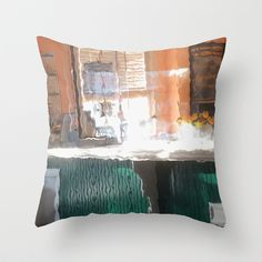 Afternoon sunlight, train station, Throw Pillow by LMGlenn - $20.00