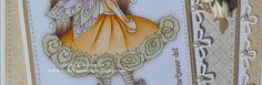 Trines-papirkaos: Maja design kort og LO.  Motivet er fargelagt i disse fargene: Hud: E11-21-51-50-93 Kjolen: YR24.Y35-32. YG93-91. E81 Lilla: V95-93-91 Hår: E47-44-43-42-40