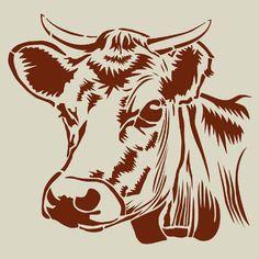 Vache. tête de vache. grand pochoir en vinyle adhésif (ref 164)