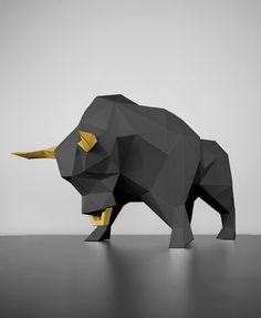 Papertrophy Stier Papiertiere basteln Origami