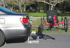 Plugs into your receiver or box style trailer hitch and carries recumbent trikes, adult trikes and hand cycles. Hitch Rack, Recumbent Bicycle, Receiver Hitch, 5th Wheels, Trailer Hitch, Bike Rack, Folded Up, Scorpion, Cycling