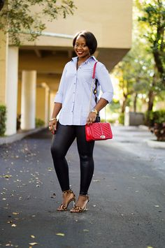 jcrew sequin stripe shirt and faux leather leggings with leopard sandals and rebecca minkoff red love crossbody 1