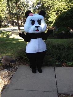 Autumn's panda costume is done! Panda Costumes, Snowman, Autumn, Sewing, Outdoor Decor, Kids, Pandas, Young Children, Dressmaking
