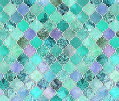 Pale Mint & Lilac Decorative Moroccan Tiles by micklyn