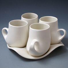Design I Mug Set (porcelain, white glaze) five-piece set