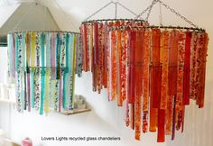 Lovers Lights recycled glass chandeliers