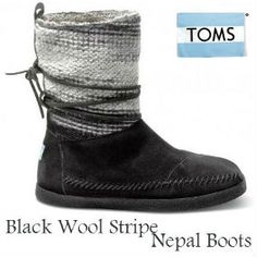 NEW from TOMS Shoes - Black Wool Stripe Women's Nepal Boots