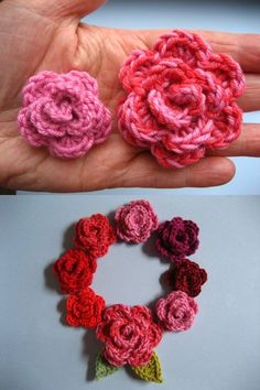 Lucy's May Roses - Excellent instructions with plenty of very helpful photos (as usual!).  She shows how to achieve different sizes by using various yarns & hooks.  . . . .   ღTrish W ~ http://www.pinterest.com/trishw/  . . . .   #crochet #flower #embellishment
