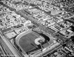 Vista aérea del entrañable Parque Delta y su estadio de Béisbol, en la zona de Viaducto,  al sur de la Ciudad de México.