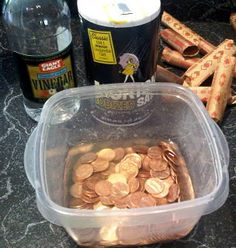 Making pennies shiny:  Use 1/4 cup white vinegar and 1 teaspoon of table salt to clean them. The vinegar is 5% acetic acid and dissolves the copper oxide on the pennies. The salt acts as a catalyst to speed up the process. Let sit for a minute or 2 stirring to clean both sides. Rinse.