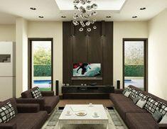 wohnzimmer schicke wohnzimmermöbel teppich einbauleuchten cooler leuchter