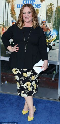 Night out: Melissa McCarthy, 46, looked perfect for the first official day of spring in a ...