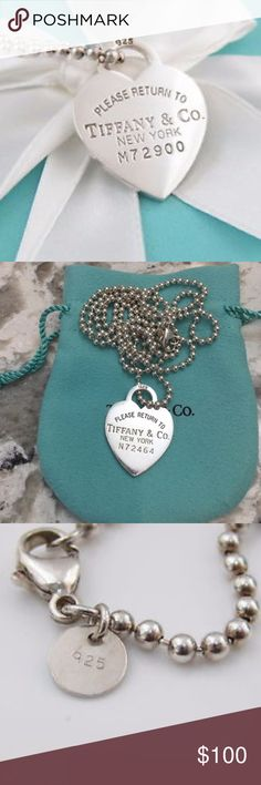 Tiffany & Co Silver Heart Tag Necklace - 32in Tiffany & Co Sterling Silver  'Return to Tiffany' Heart Tag Necklace -  32in Chain Tiffany & Co. Jewelry Necklaces