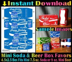 Printable Mini Soda Beer Box 7 or 8 oz Drink Cans Birthday Drinks, Birthday Party Themes, Printable Water Bottle Labels, Baby Shower Favors Girl, Chip Bags, Treat Box, Valentines Day Treats, Party In A Box, Favor Boxes