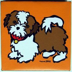 "Amazon.com: ""Shi Tzu"" by Marc Tetro. Giclee on Fine Art Canvas Dog Print (6 x 6 x 1 3/8 inches): Home & Kitchen"