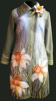 """This gorgeous wool felt coat would be fabulous to wear on a cool Spring day, don't you think? It features some lovely daffodils and is titled """"April"""".  This is the work of Darina and you can see more of her designs on her website at https://www.livemaster.ru/item/3047543-odezhda-palto-valyanoe-iz-vojloka-aprel"""
