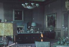 Adolf Hitler's office in the Fuhrerbau, Munich, Germany, 1940. This is where the Munich agreement was signed by British Prime Minister Neville Chamberlain, giving Germany a portion of Czechoslovakia