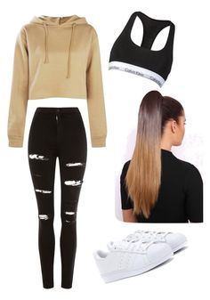 """Untitled #61"" by haileymagana on Polyvore featuring Topshop, Boohoo, adidas Originals and Calvin Klein"