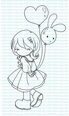 Digital Stamp Charlotte and Bunny Love Balloon por MilkCoffee, $3.00