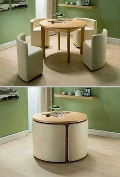 Home Decor and DIY'S Compact dining table and chairs. Something like this is/was also available at the famous Swedish furniture-warehouse.