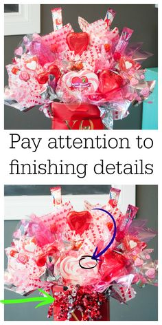 In the final stages of creating a candy bouquet, pay attention the details. Remove stickers, price tags and add embellishments that pull this DIY craft together. Get the full tutorial on The Bewitchin' Kitchen Diy Valentine's Candy Bouquet, Candy Boquets, Valentine Bouquet, Gift Bouquet, Birthday Bouquet, My Funny Valentine, Valentine Crafts, Valentines Day Baskets, Valentines Day Decorations