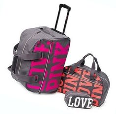 Victoria's Secret * Pink * Three Piece Travel Luggage Set...I want these for the next trip i take.