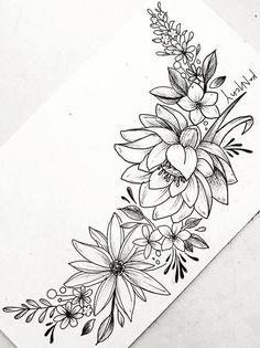 Floral flower drawing black and white illustration line tattoo drawings tattoo sketches body art tattoos cute tattoos new tattoos mightylinksfo