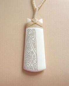 Maori Bone Toki Adze Pendant with Scrimshaw and Binding