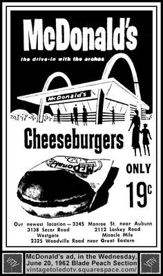 Vintage Toledo TV - Other Vintage Print Ads - McDonald's 19c Cheeseburgers (Wed 6/20/62 ad)