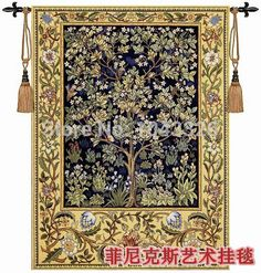 William Morris - Tree of life Blue 197*139cm Art tapestry wall hanging Home decorative textile Aubusson Jacquard products PT-37