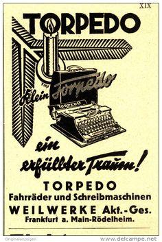 Original-Werbung/Inserat/ Anzeige 1932 - TORPEDO SCHREIBMASCHINE - ca. 70 x 100 mm