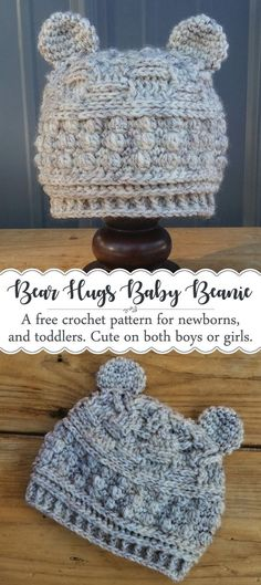 """Bear Beanie """"Bear Hugs"""" Pattern Crochet a cute baby bear hat for newborns, and toddlers with this free pattern! The classic textures make it work for either a boy or a girl. This beanie would also be a perfect photography prop for newborn pictures! Crochet For Boys, Free Crochet, Knit Crochet, Crotchet, Crochet Hats For Babies, Crochet Summer, Crochet Bikini, Baby Patterns, Knitting Patterns"""