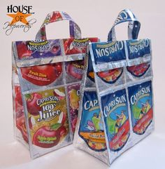 DIY Recycled Caprisun Tote Bag Tutorial. I haven't seen these in *years*. They can also be done with foil lined potato chip or corn chip bags (Fritos) and just about any durable snack bag packaging.
