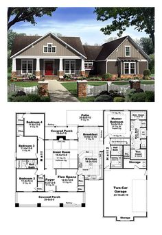 Bungalow Style COOL House Plan ID: chp-40655 | Total Living Area: 2400 sq. ft., 4 bedrooms and 2.5 bathrooms. #bunglaowhome