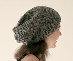 Grey Slouchy Knit Hat  Gray Chunky Beanie  by ForYouDesign on Etsy