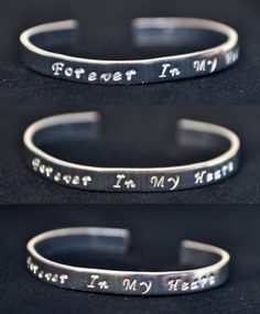 Forever In My Heart open ended bangle made of Pure Aluminium Valentine's Day Gift or Memorial Jewelry