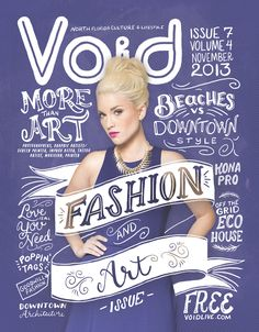 Void Magazine cover design using creative typography and illustration with a…