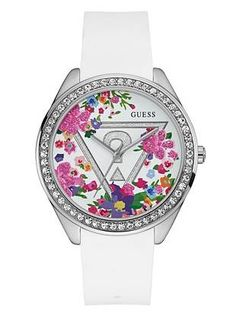 White Floral Iconic Watch | shop.GUESS.com