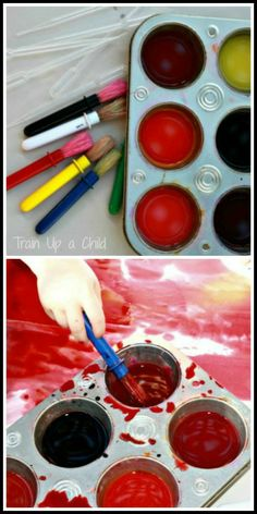 Kool Aid water color paint - messy, sensory art!  You have to try it yourself to experience the amazing aroma made by the Kool Aid paints.