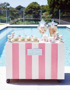 10 Wedding Ideas For The Bride Who's Ice Cream Crazy - Wilkie Blog! - Poolside ice cream bar