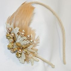 Vintage feathers and pearls headband