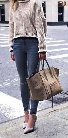 #winter #fashion /  Cream Turtleneck   Grey Skinny Jeans