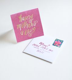 Practicing with painting letters — Mother's Day printable card and envelope