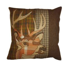 tweed mixed fabric animal applique cushion stag by Castletweed